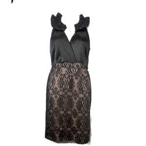 DONNA RICCO Satin and Lace Sleevless Sheath Dress